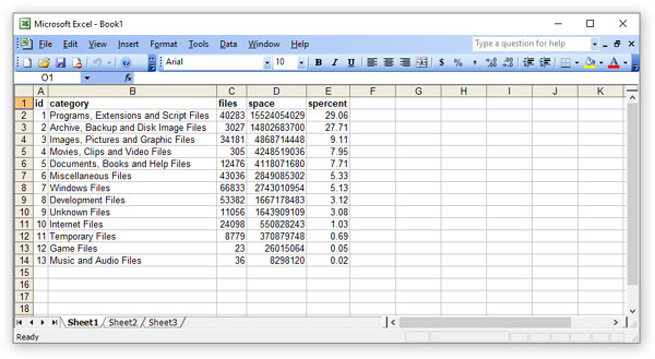 DiskSorter File Classification Results in Excel